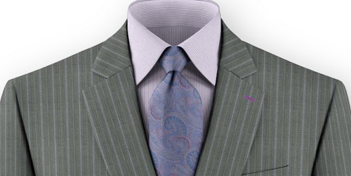 Light gray stripe custom made suit with Maohair and wool blend fabric by Dormeuil